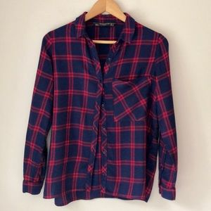 Zara Blue Flannel Button Down Shirt